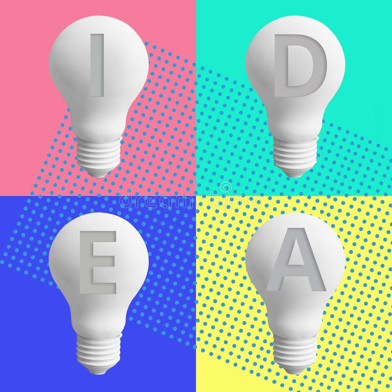 2019 creativity inspiration concepts with lightbulb on pastel color background.Business solution,planning ideas. vector illustration