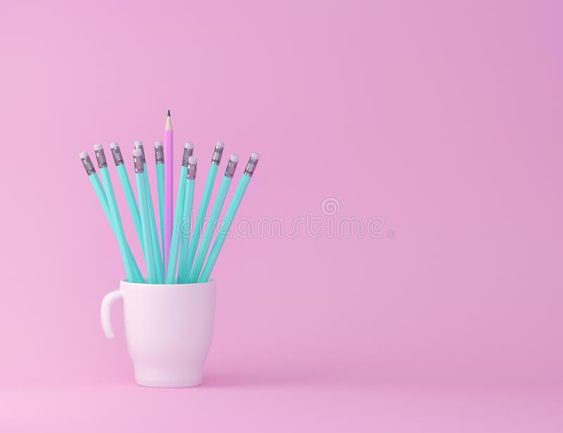 Creativity inspiration education concepts with pencil and cup on pink pastel color background. minimal ideas concept. Creativity inspiration education concepts stock photos