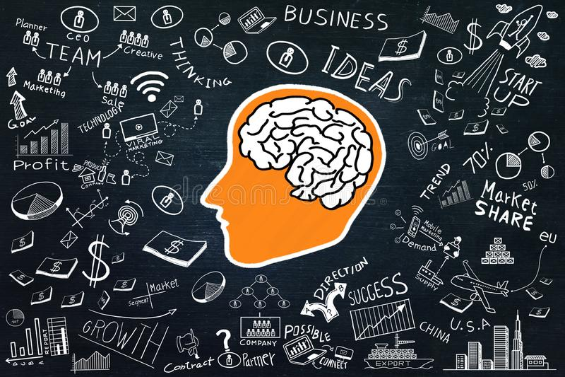 Creativity inspiration,ideas concepts with power of brain and business doodle element on dark background stock images