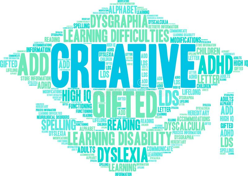 Creativity LDs Word Cloud. Creativity with Learning Disability word cloud on a white background stock illustration