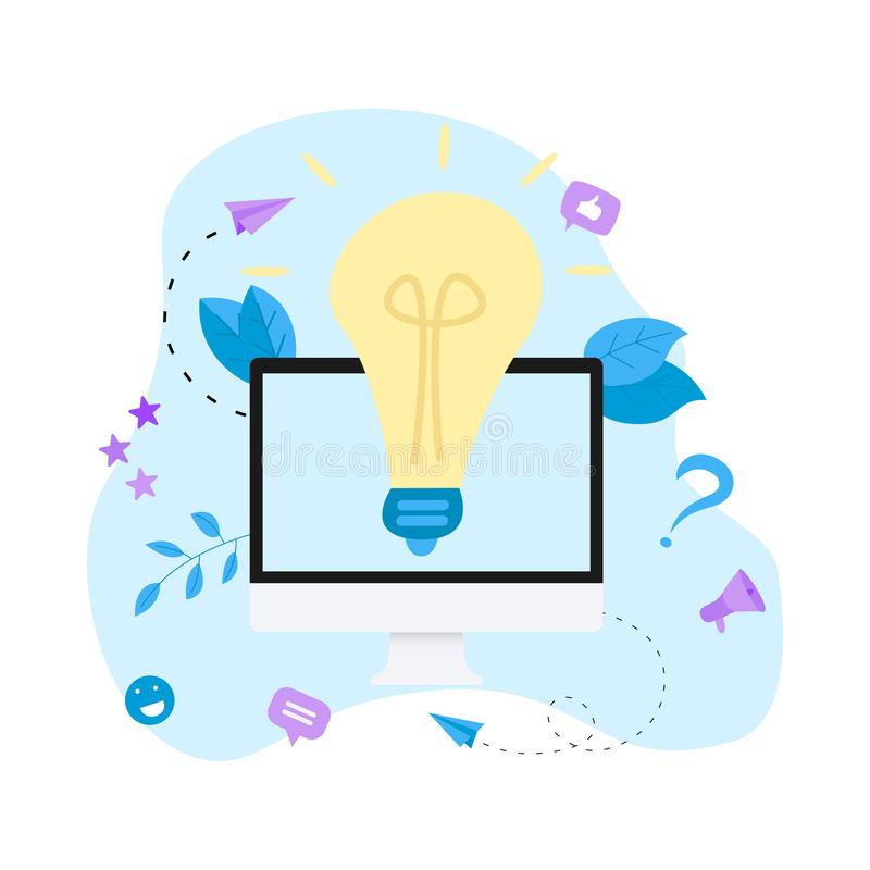 Creativity online business idea concepts with big bulb. Vector illustration. royalty free illustration
