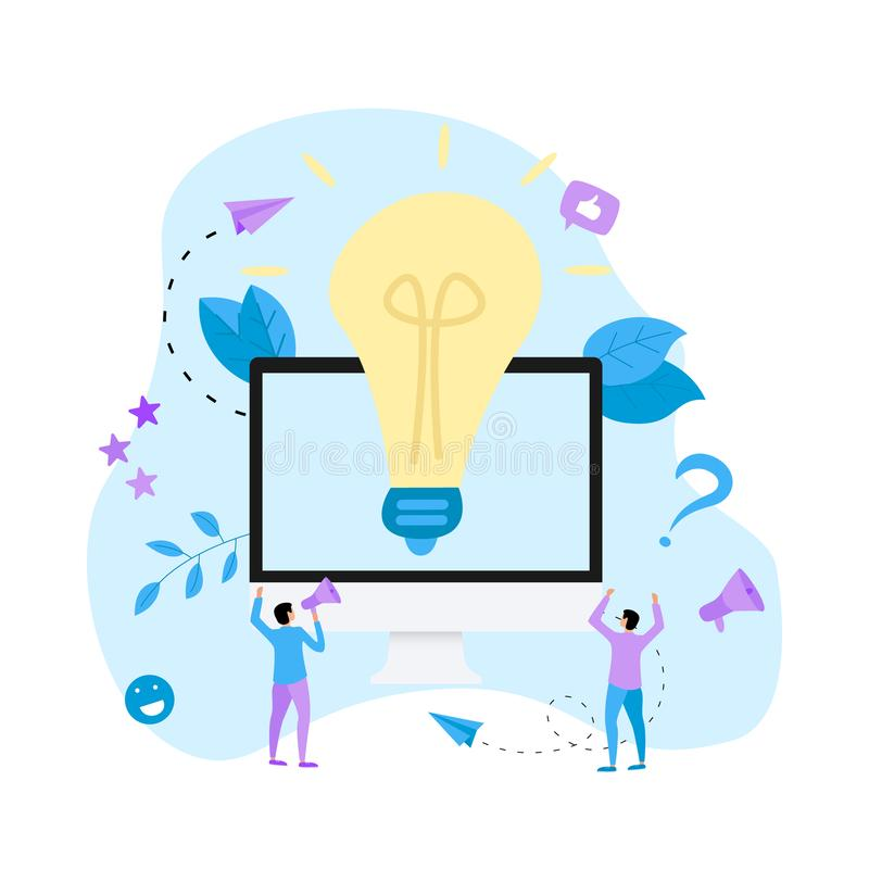 Creativity online business idea concepts with big bulb. Vector illustration. stock illustration