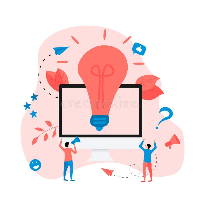 Creativity online business idea concepts with big bulb. Vector illustration stock illustration