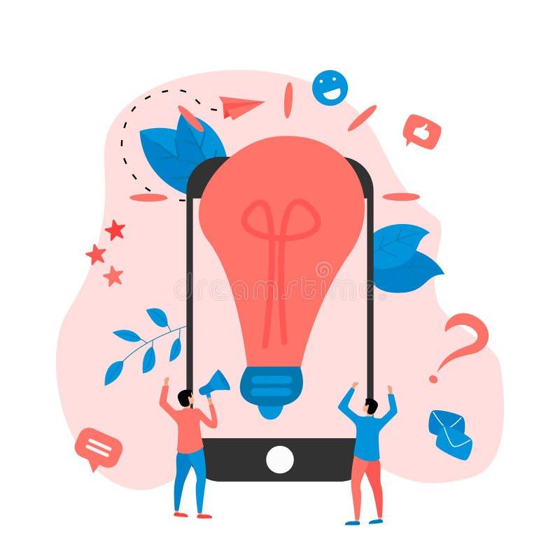 Creativity online business idea concepts with big bulb. Vector illustration vector illustration