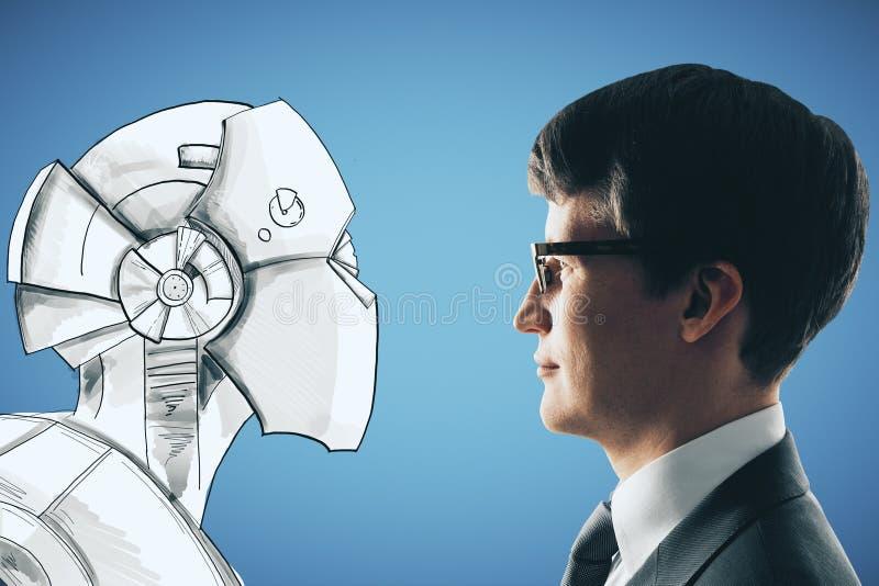 Creativity and robotics concept vector illustration
