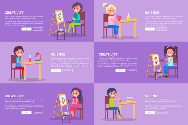 Creativity and Science Template Vector Web Banners. With attentive small isolated students studying really hard and siiting at tables vector illustration