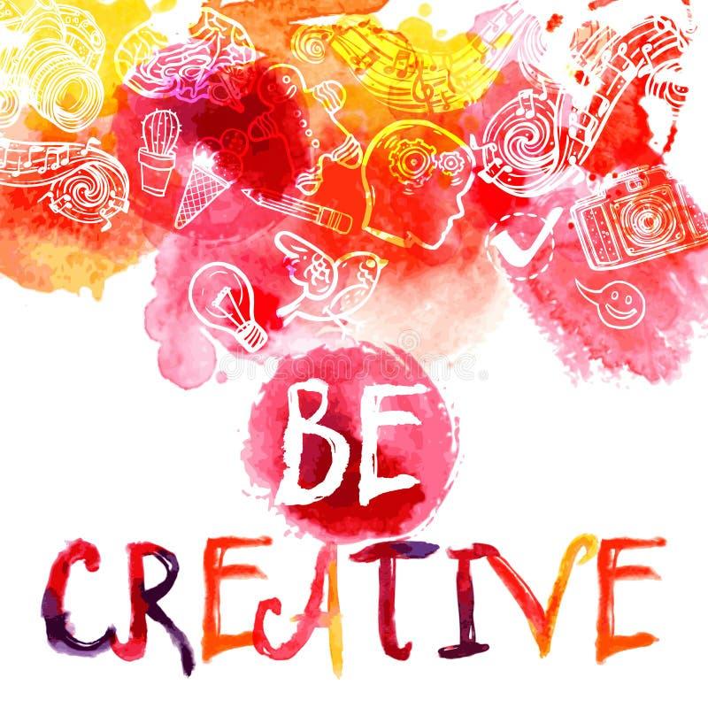 Creativity Watercolor Concept royalty free illustration