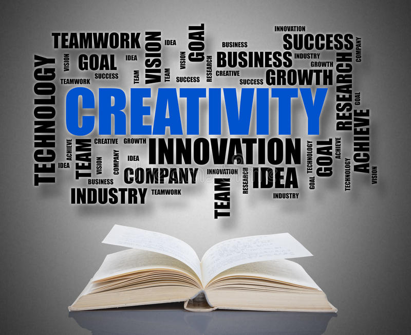 Creativity word cloud concept above a book royalty free stock images