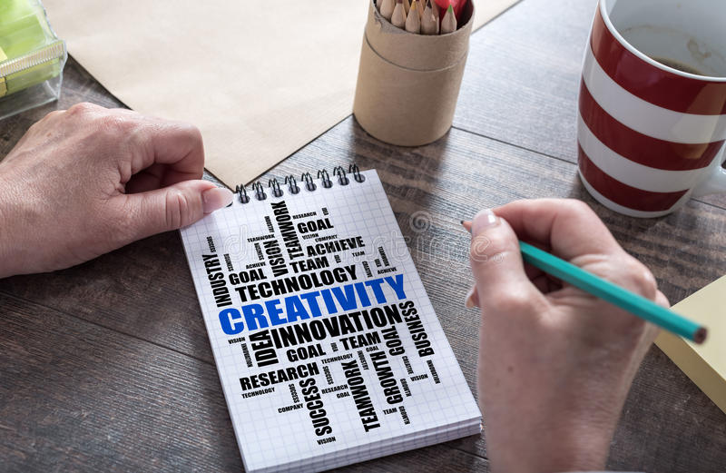 Creativity word cloud concept on a notepad royalty free stock photos