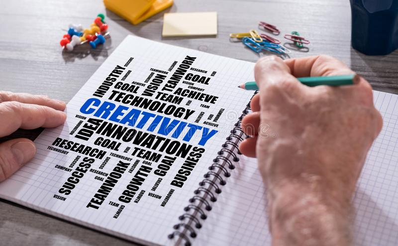 Creativity word cloud concept on a notepad. Hand drawing creativity word cloud concept on a notepad royalty free stock image
