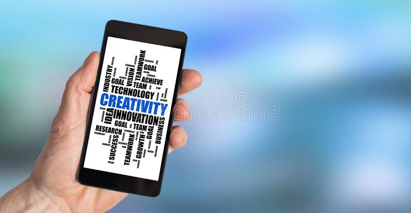 Creativity word cloud concept on a smartphone stock photo