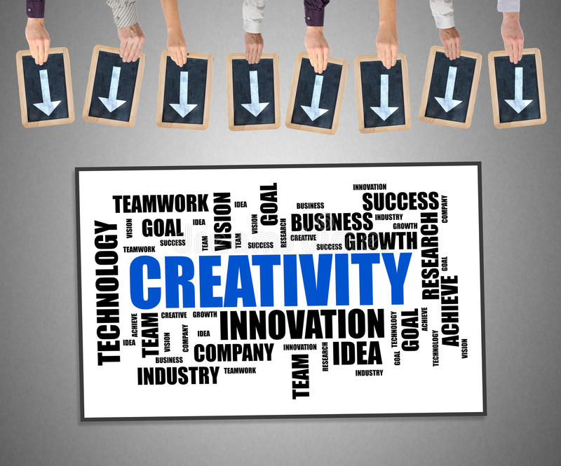Creativity word cloud concept on a whiteboard stock images