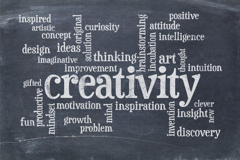Creativity word cloud on slate blackboard royalty free stock images