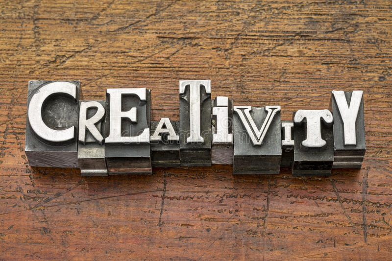 Creativity word in metal type stock photography