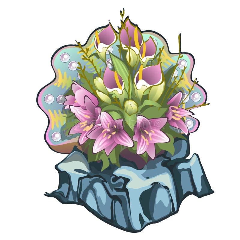 Creativo adornó el ramo de la flor fresca de lirios y de calas con la concha marina en el contexto aislado en el fondo blanco stock de ilustración