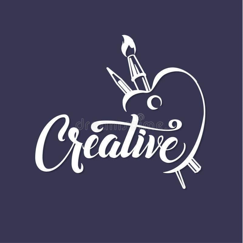 creativo Cartaz caligráfico com escova e lápis da paleta Composição inspirada da rotulação para convites ilustração do vetor