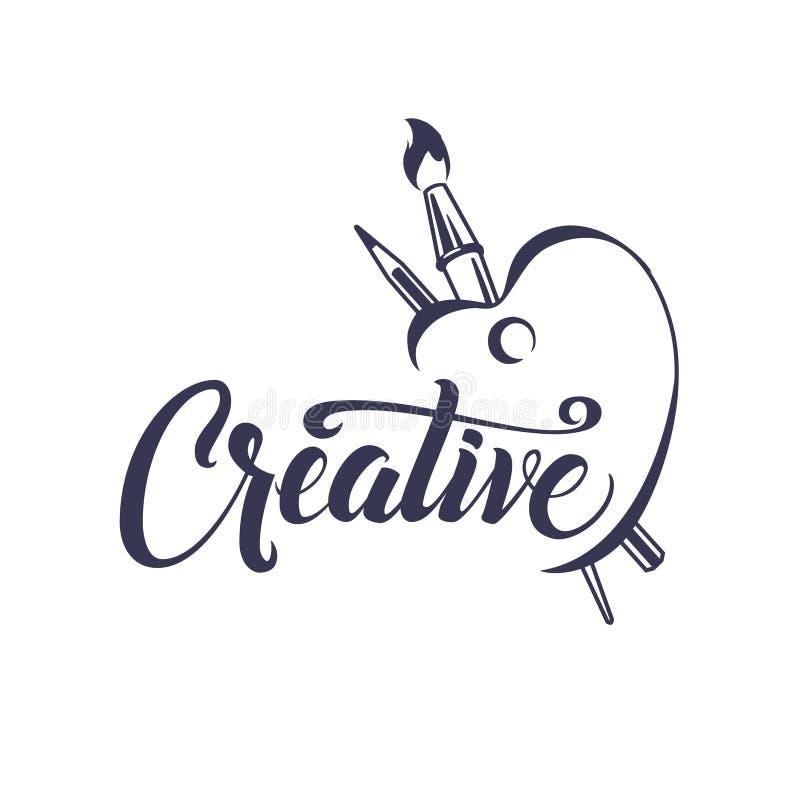 creativo Cartaz caligráfico com escova e lápis da paleta Composição inspirada da rotulação para convites, calendários ilustração do vetor