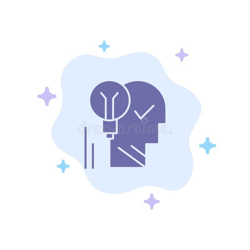 Creativo, cerebro, idea, bombilla, mente, personal, poder, icono azul del éxito en fondo abstracto de la nube ilustración del vector