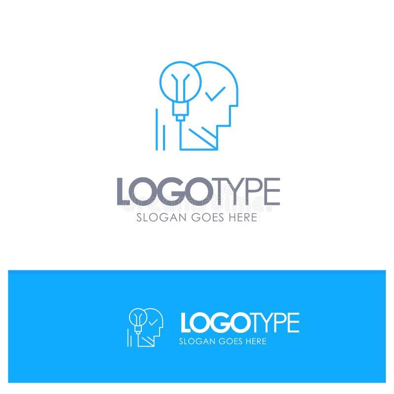 Creativo, cerebro, idea, bombilla, mente, personal, poder, logotipo azul del esquema del éxito con el lugar para el tagline stock de ilustración