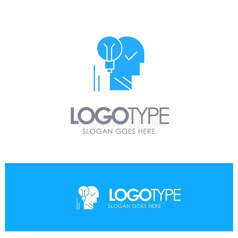 Creativo, cerebro, idea, bombilla, mente, personal, poder, logotipo sólido azul del éxito con el lugar para el tagline stock de ilustración