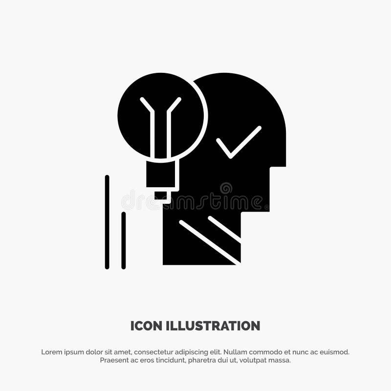 Creativo, cerebro, idea, bombilla, mente, personal, poder, vector sólido del icono del Glyph del éxito ilustración del vector