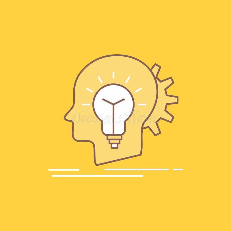 creativo, creatività, testa, idea, linea piana di pensiero icona riempita Bello bottone di logo sopra fondo giallo per UI e UX, illustrazione vettoriale