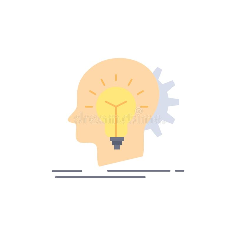 creativo, creatività, testa, idea, vettore piano di pensiero dell'icona di colore illustrazione vettoriale