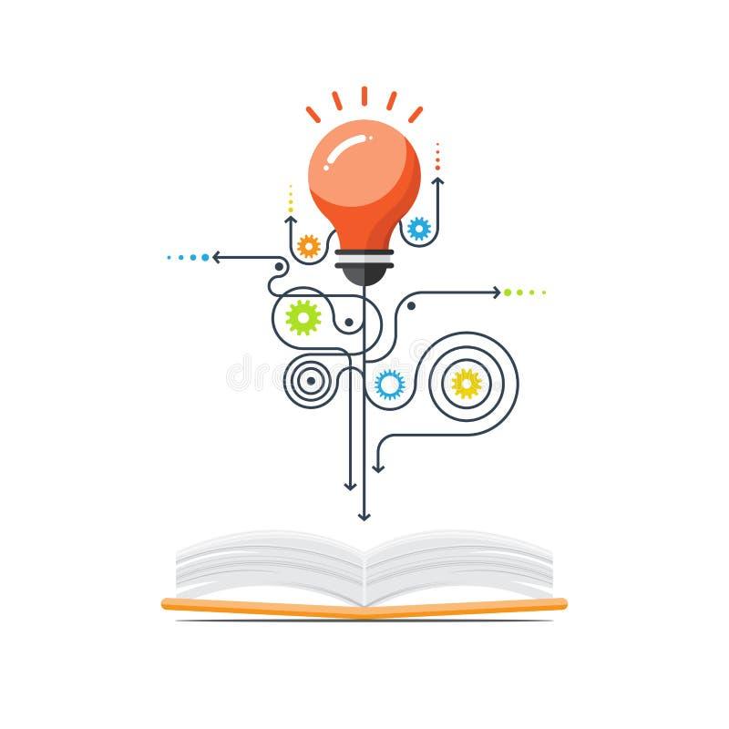 Creativo del libro, muestra del bulbo, vector del concepto de la educación libre illustration