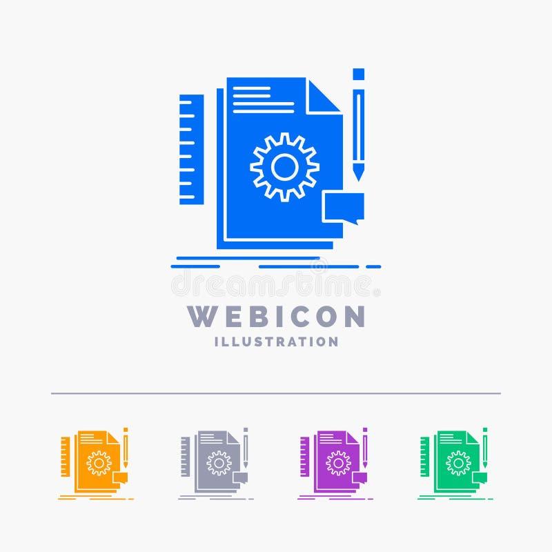 Creativo, diseño, conviértase, reacción, plantilla del icono de la web del Glyph del color de la ayuda 5 aislada en blanco Ilustr ilustración del vector