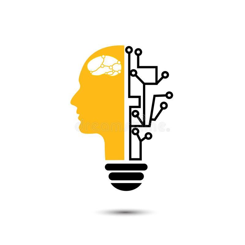 Creativo humano de la bombilla con los iconos de la tecnología libre illustration