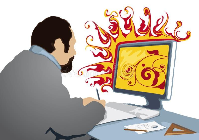 Creativo no trabalho (vetor) ilustração do vetor