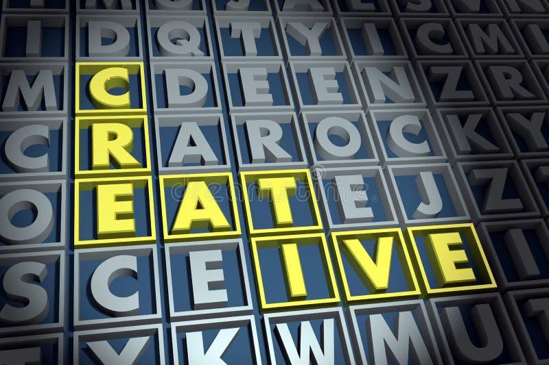creativo Palavra dourada entre outras letras escuras ilustração royalty free