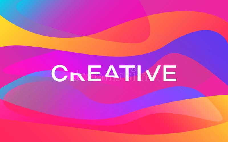 creativo Projeto das formas da cor Cartaz colorido moderno Ondas brilhantes com inscrição branca Fundo abstrato na moda ilustração do vetor