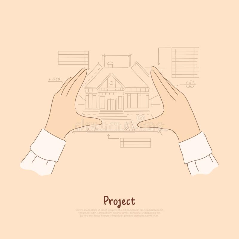 Creator arms metaphor, architect envisioning future house, blueprint measurements of building project banner royalty free illustration
