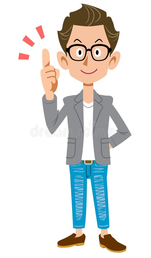 Creator-like young man wearing a jacket explaining the main points. The image of a Creator-like young man wearing a jacket explaining the main points vector illustration