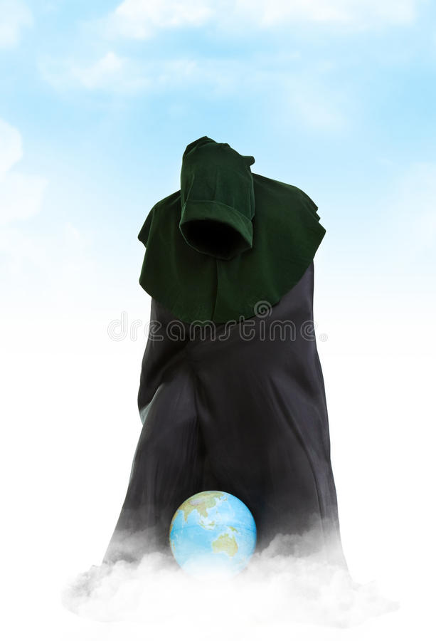 Creator of the Universe. Demiurge man with global ball stock photo