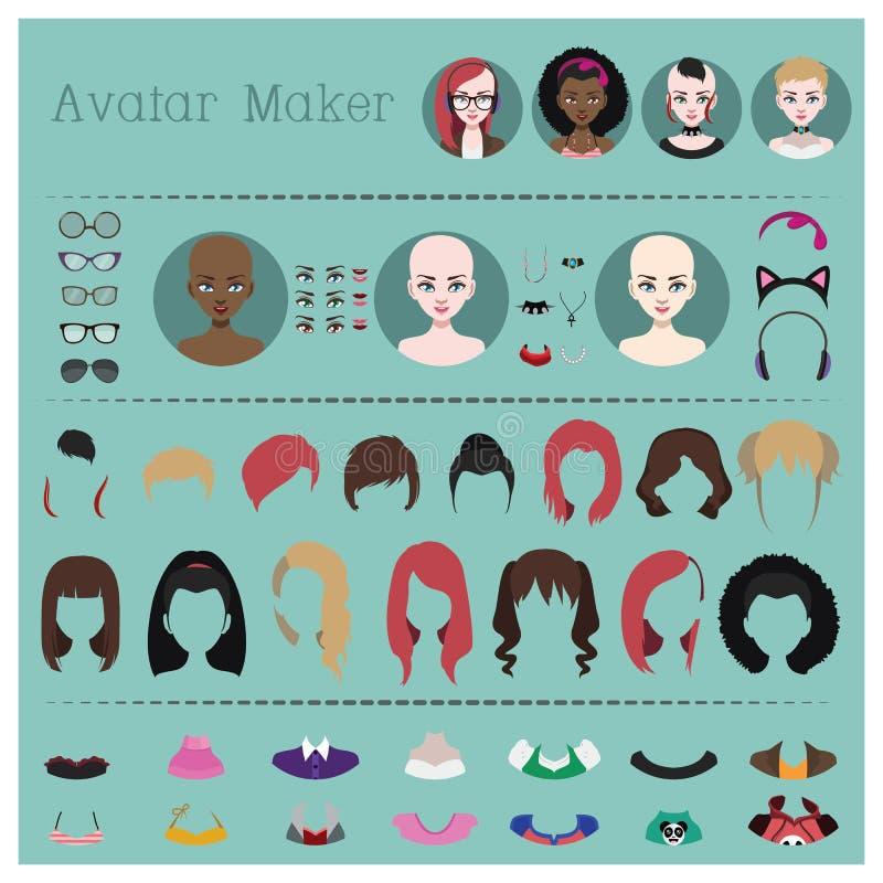 Creatore dell'avatar della donna royalty illustrazione gratis