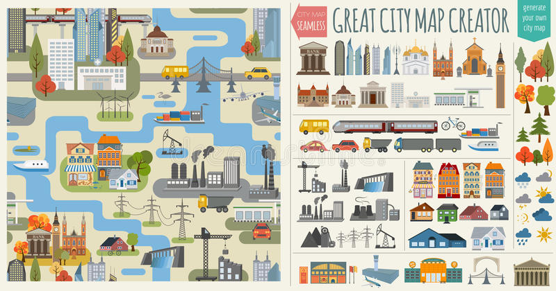 Creatore della mappa della città di е RGBGreat del ‹del ½ Ñ del ² Ð del ¾ Ð del ½ Ð del  Ð di ÐžÑ royalty illustrazione gratis
