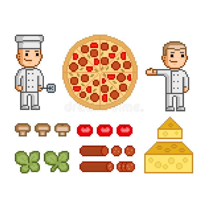 Creatore della pizza, pizza ed ingredienti illustrazione di stock