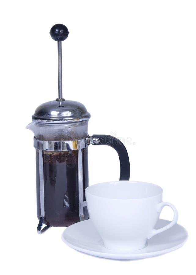 Creatore di caffè della pressa del francese fotografia stock