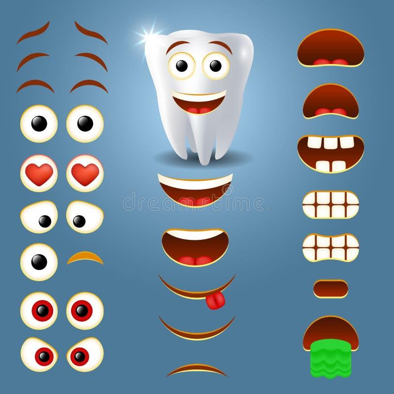Creatore di emoji del dente, illustrazione sorridente di vettore del creatore illustrazione vettoriale