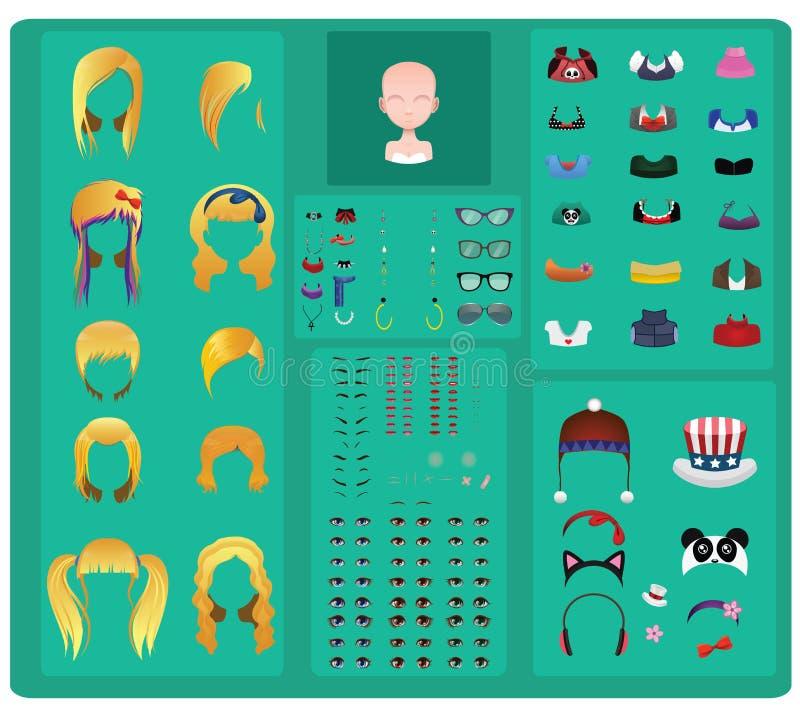 Creatore femminile dell'avatar - capelli biondi illustrazione vettoriale