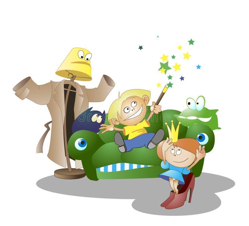 Creators of fairy tales. Children at play. creators of fairy tales. vector stock illustration