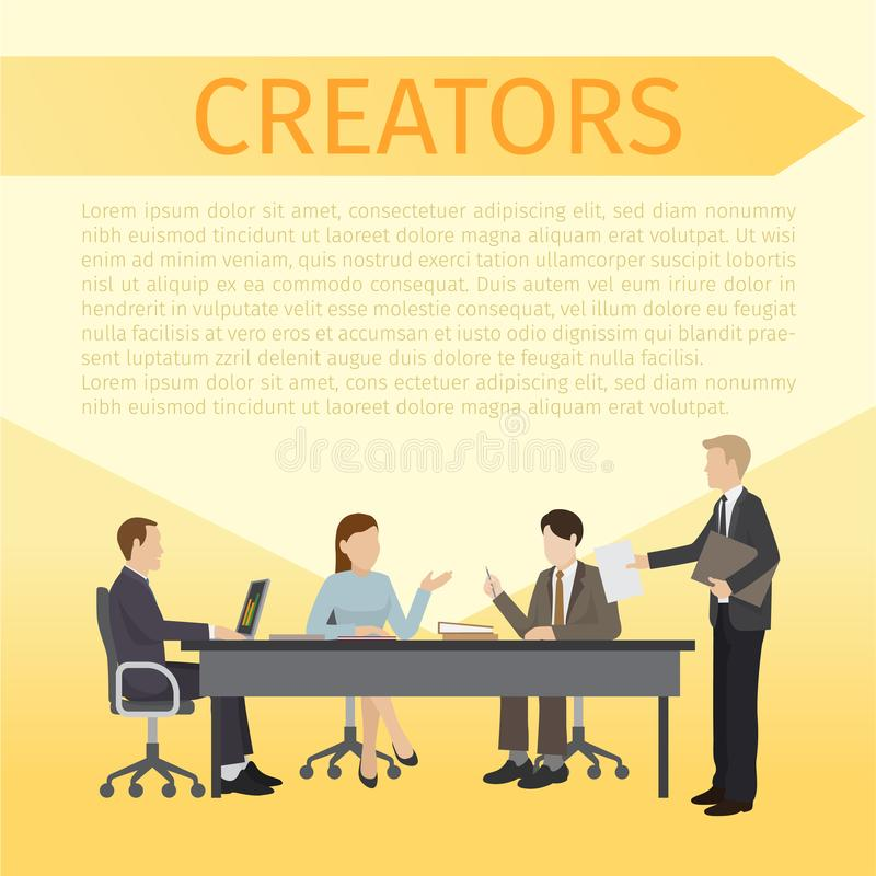 Creators sitting at table and discussing ideas together banner, poster vector illustration. Man working with laptop. Character giving documents or reports stock illustration