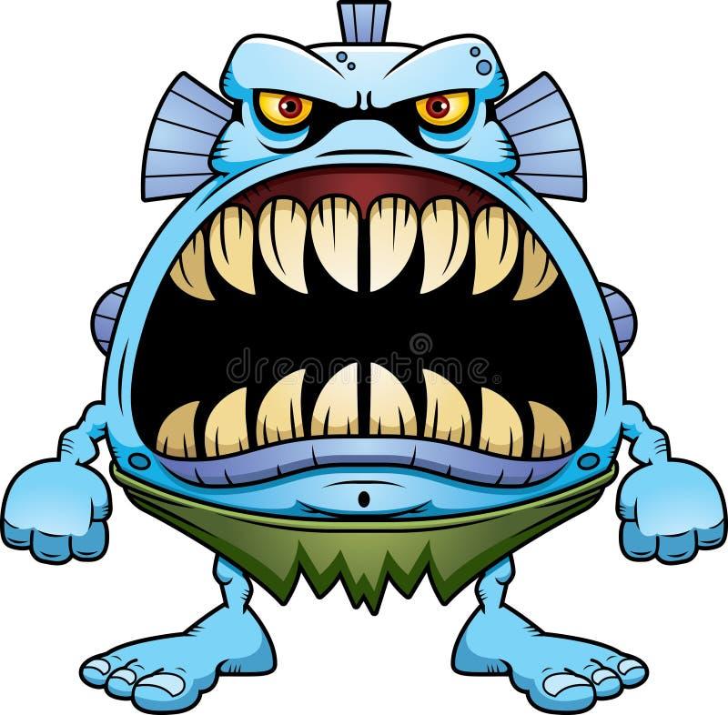Creatura arrabbiata del pesce del fumetto illustrazione di stock