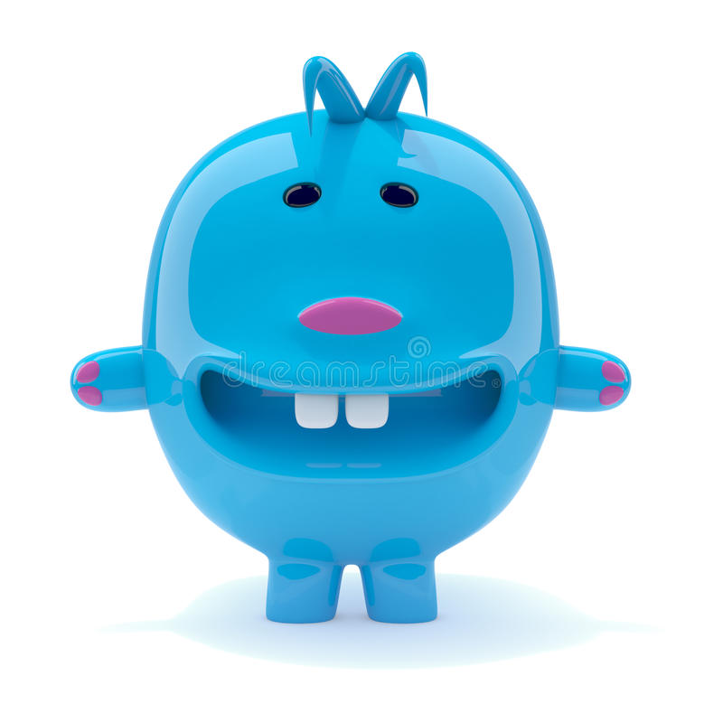 creatura blu dispari 3d illustrazione vettoriale