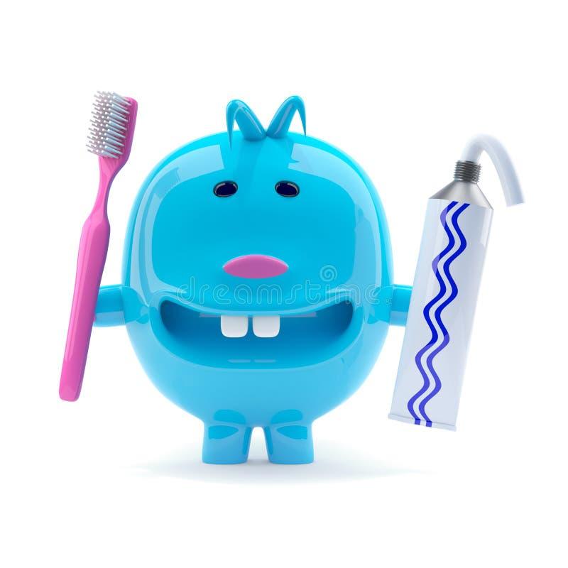 creatura blu dispari 3d con dentifricio in pasta e lo spazzolino da denti royalty illustrazione gratis