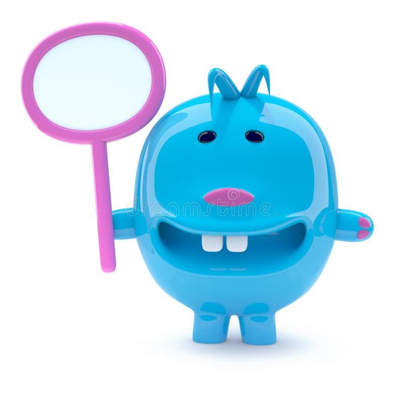 creatura blu dispari 3d con un cartello in bianco illustrazione di stock