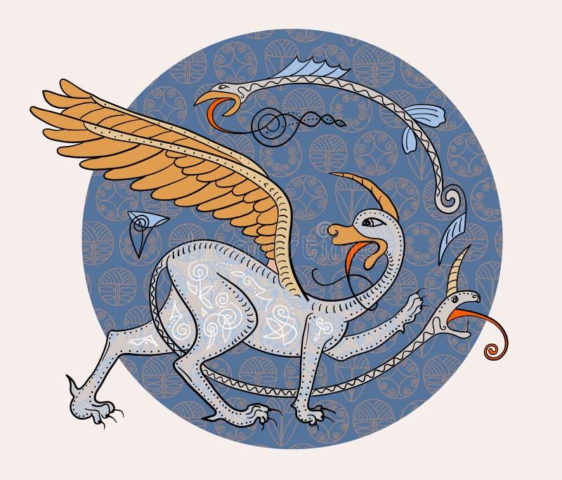 Creatura del mostro di fantasia del grifone Illustrazione medievale di stile illustrazione vettoriale