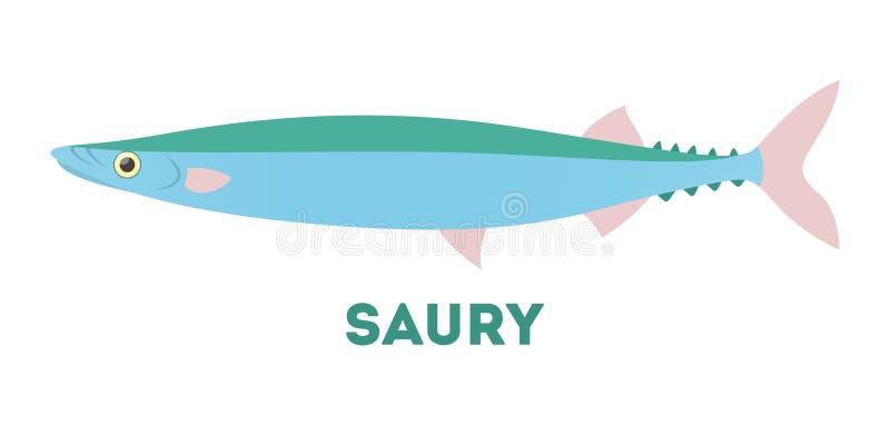Creatura dell'Atlantico del pesce del luccio sauro Idea di pesca illustrazione di stock